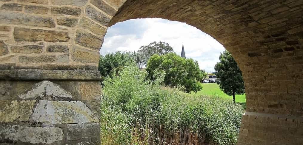 underneath Richmond Bridge Tasmania
